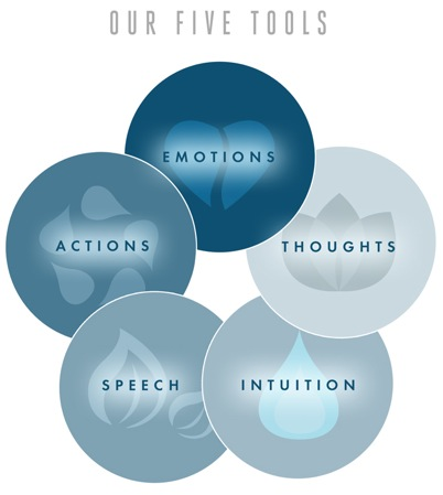 Five blue circles depicting mental attitude tools for a better life.
